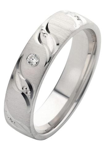 Firetti Trauring mit Gravur »rhodiniert, quer gebürstet, Diamantschnitt in Wellenform, teilweise bicolor, 5,0 mm breit«, wahlweise mit oder ohne Zirkonia kaufen