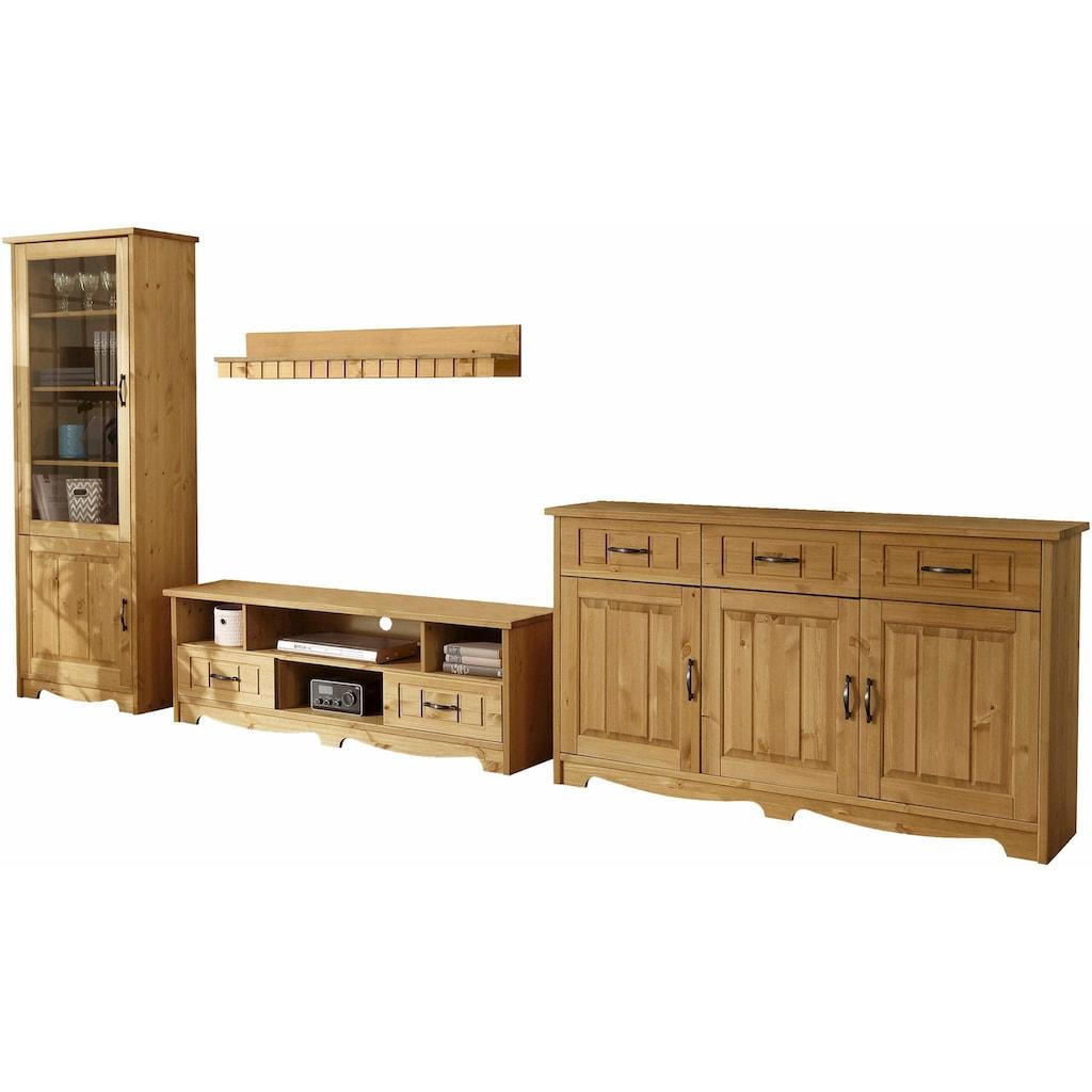 Home affaire Wohnwand »Trinidad«, (Set, 4 St.), Set aus 1 Sideboard, 1 Lowboard, 1 Wandboard, 1 Vitrine