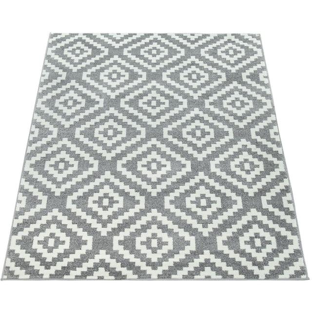 Paco Home Teppich »Stella 400«, rechteckig, 12 mm Höhe, Kurzflor, Rauten Design, Wohnzimmer
