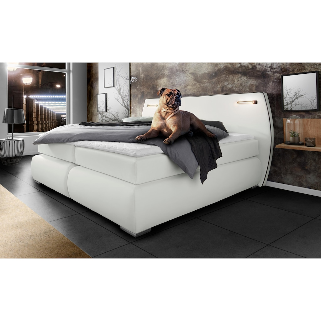 INOSIGN Boxspringbett »Black & White«, auch in Übergröße 200/220 cm, incl. LED Beleuchtung, bis zu 3 Härtegrade, Obermatratze bei 140 cm einteilig