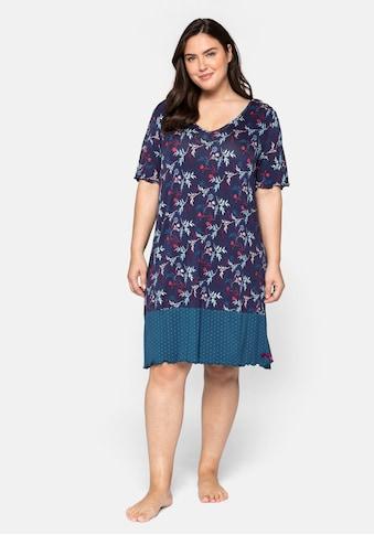 Sheego Nachthemd, im Mustermix, mit V- Ausschnitt kaufen