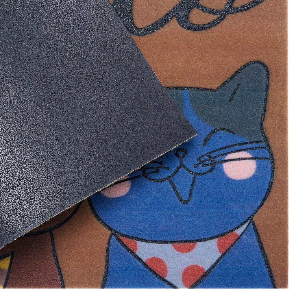 my home Fußmatte »Katzen«, rechteckig, 6 mm Höhe, Schmutzfangmatte mit Spruch, In- und Outdoor geeignet