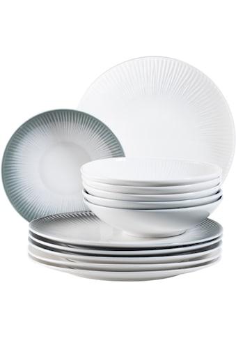 MÄSER Tafelservice »Dalia«, (Set, 12 tlg.), Vintage-Look, grau/weiß kaufen