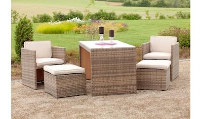 MERXX Gartenmöbelset »Merano«, 11 - tlg., 2x Sessel, 2x Hocker, Tisch, inkl. Auflagen kaufen