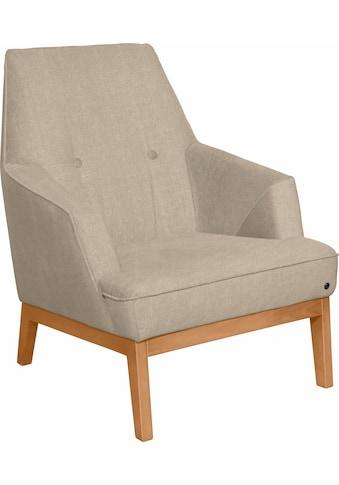 TOM TAILOR Sessel »COZY«, im Retrolook, mit Kedernaht und Knöpfung, Füße Buche natur kaufen