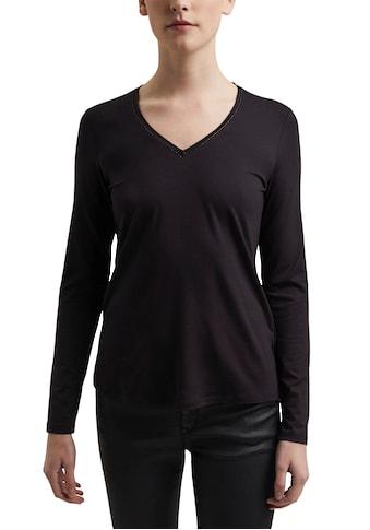 Esprit Collection V-Shirt, mit dezenter Glitzerkante am Ausschnitt kaufen