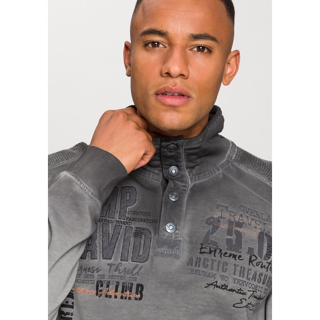 CAMP DAVID Sweatshirt, Oil-washed-Optik