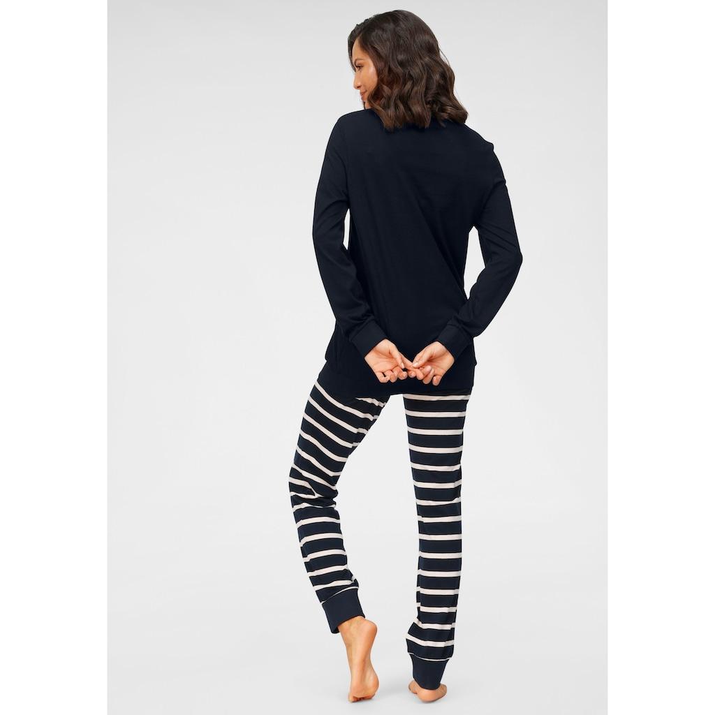 Schiesser Pyjama, mit geringelter Hose
