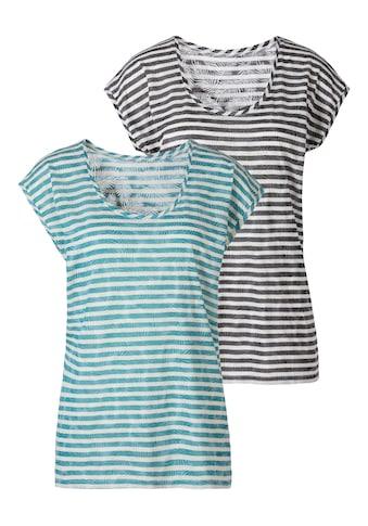 LASCANA T-Shirt, Ausbrenner-Qualität mit leicht transparentem Palmenblatt-Design kaufen