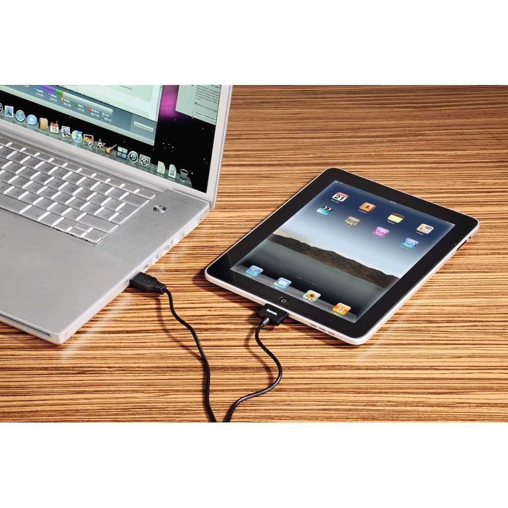 Hama USB-Kabel, USB Typ A, 100 cm, für Apple iPad, 30-Pin, 1 m, Schwarz