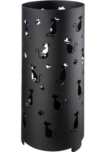 GILDE Schirmständer »Regenschirmständer Cats, schwarz«, für Regenschirme, Höhe 55 cm, rund, Ø 21 cm, handgefertigt, aus Metall, mit Motivausstanzung kaufen