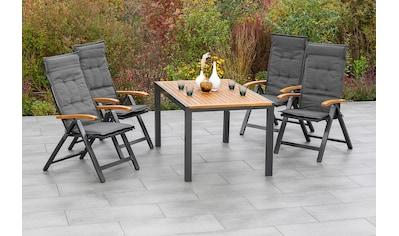 MERXX Gartenmöbelset »Tilos«, (5 tlg.), 4 Klappsessel mit ausziehbarem Tisch kaufen