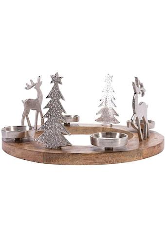 Adventsleuchter »Rentiere«, aus Mangoholz und Aluminium kaufen