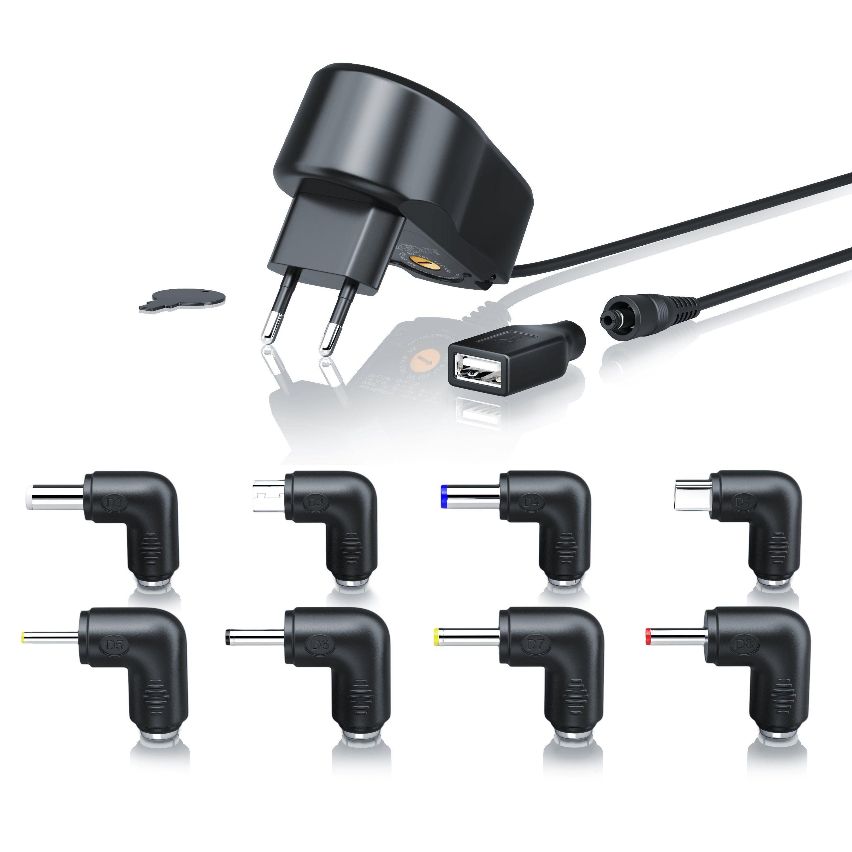 Aplic Universal Netzteil mit 9 verschiedenen Adapter Aufsätzen »Spannung frei wählbar (5-15V DC)«