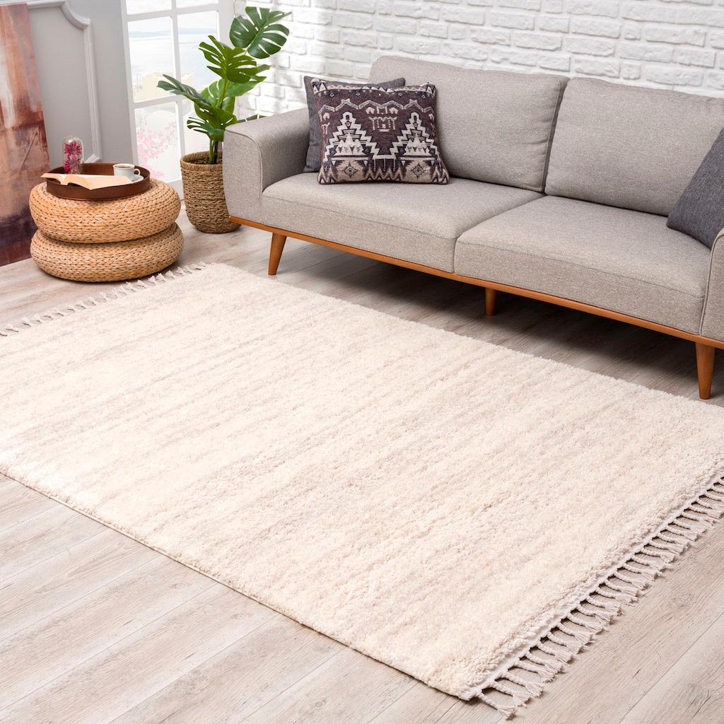 Carpet City Hochflor-Teppich »Pulpy 524«, rechteckig, 30 mm Höhe, mit Fransen