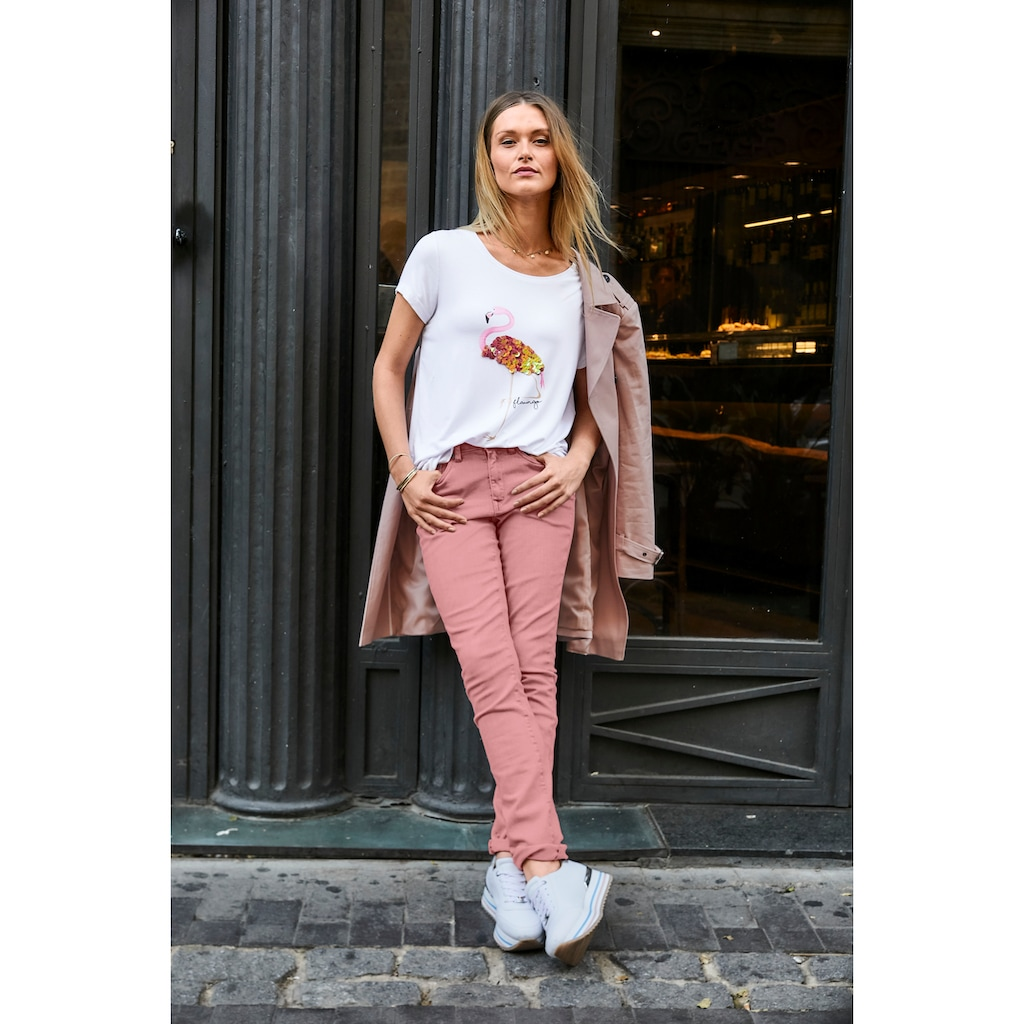 Aniston CASUAL T-Shirt, Flamingo mit Pailletten bestickt