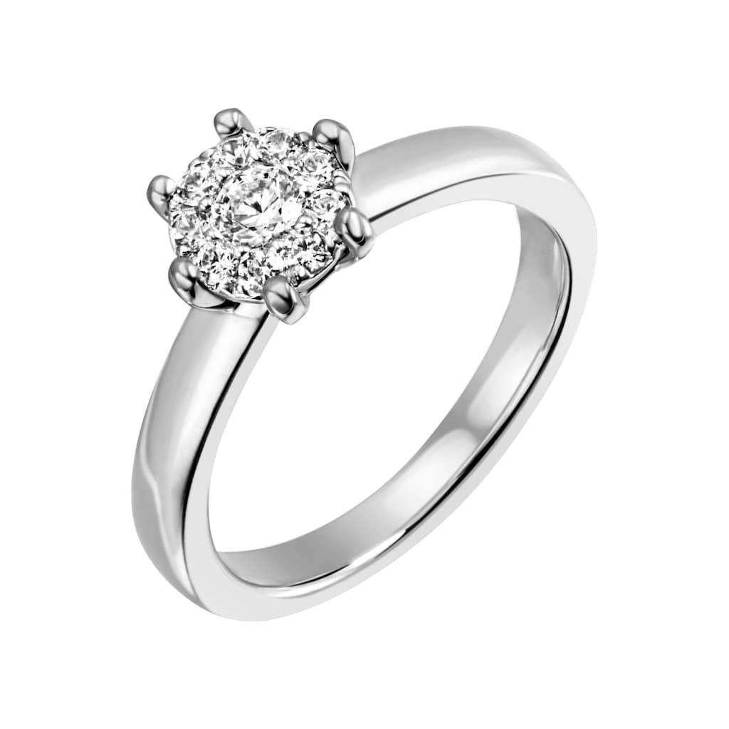 Firetti Diamantring »Verlobung, ca. 3,20 mm breit, Glanzoptik, massiv«, mit Brillanten