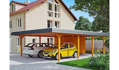 Skanholz Doppelcarport »Wendland«, Leimholz-Nordisches Fichtenholz, 550 cm, hellbraun kaufen