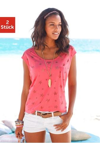 Beachtime T-Shirt, Ausbrenner-Qualität mit leicht transparenten Sternen kaufen
