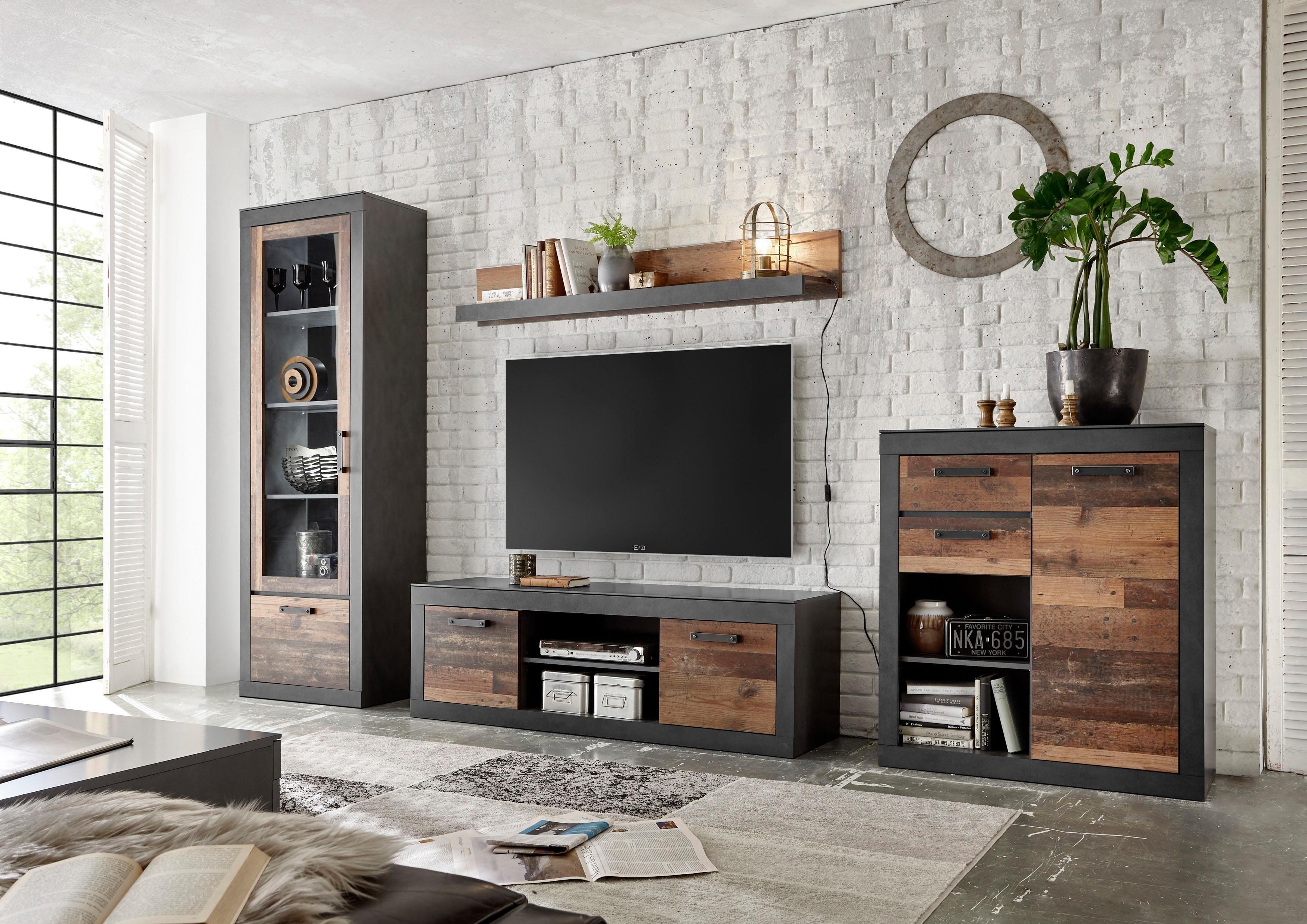 Home affaire Wohnwand »BROOKLYN«, (4 tlg.), in dekorativer Rahmenoptik günstig online kaufen