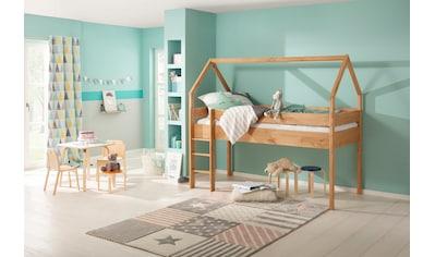 Lüttenhütt Kinderbett »Alpi«, aus massivem Kiefernholz, in einer Haus-Optik Form, Liegefläche 90x200 cm kaufen