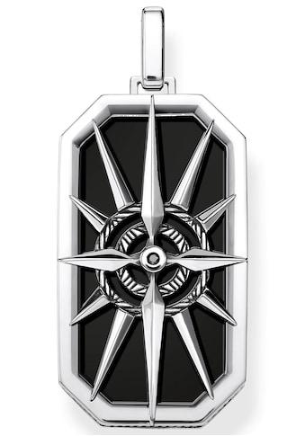 THOMAS SABO Kettenanhänger »Kompass Stern schwarz, PE869-641-11«, mit Onyx und Zirkonia kaufen