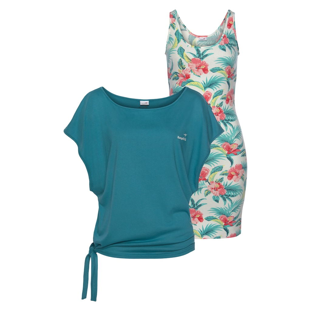 KangaROOS 2-in-1-Kleid, Set Kleid und Shirt mit Tropical Hibiskus Print