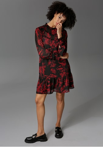 Aniston CASUAL Blusenkleid, aufwändig mit Rüschen, Samtbändern und Volant verziert -... kaufen