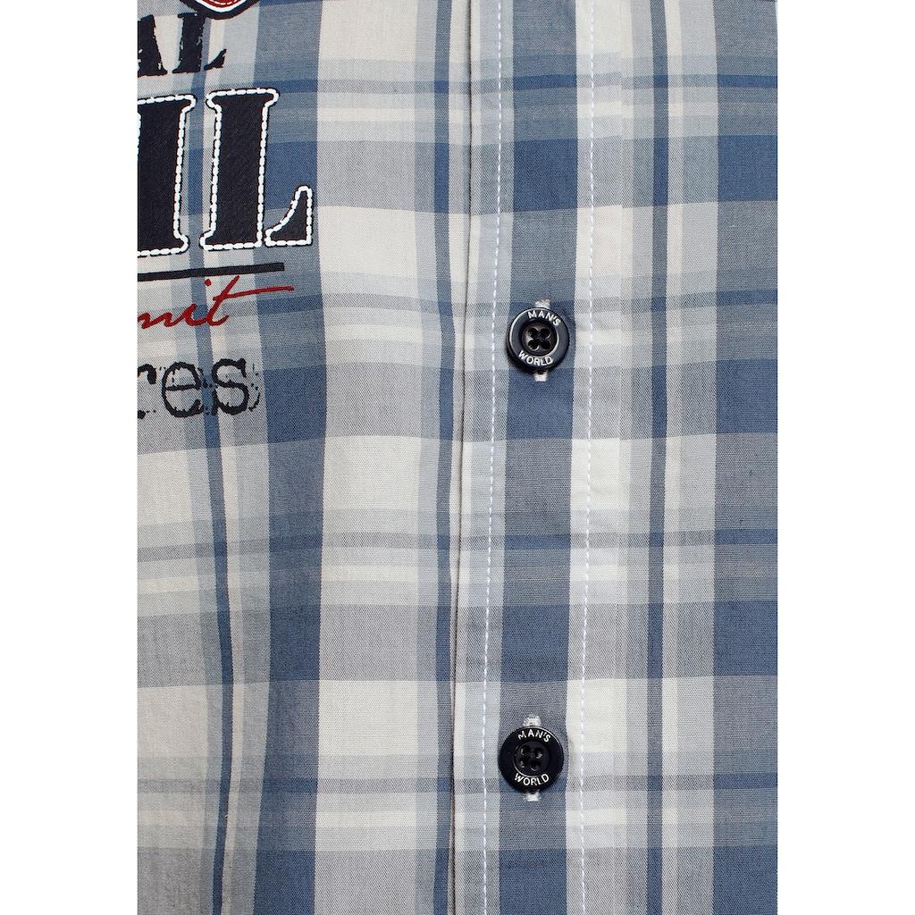 Man's World Kurzarmhemd, Mit Chambray-Einsätzen an den Ärmeln