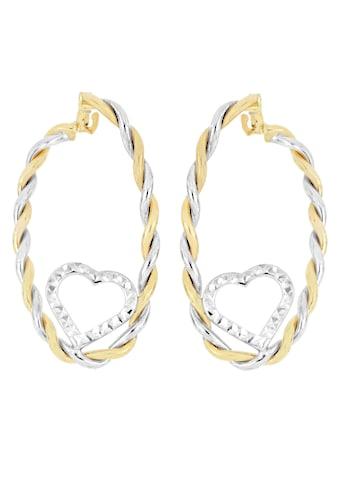 Firetti Paar Creolen »Herzen, Bicolor - Optik, 2 - reihig, gekordelt, spiegeldiamantiert« kaufen