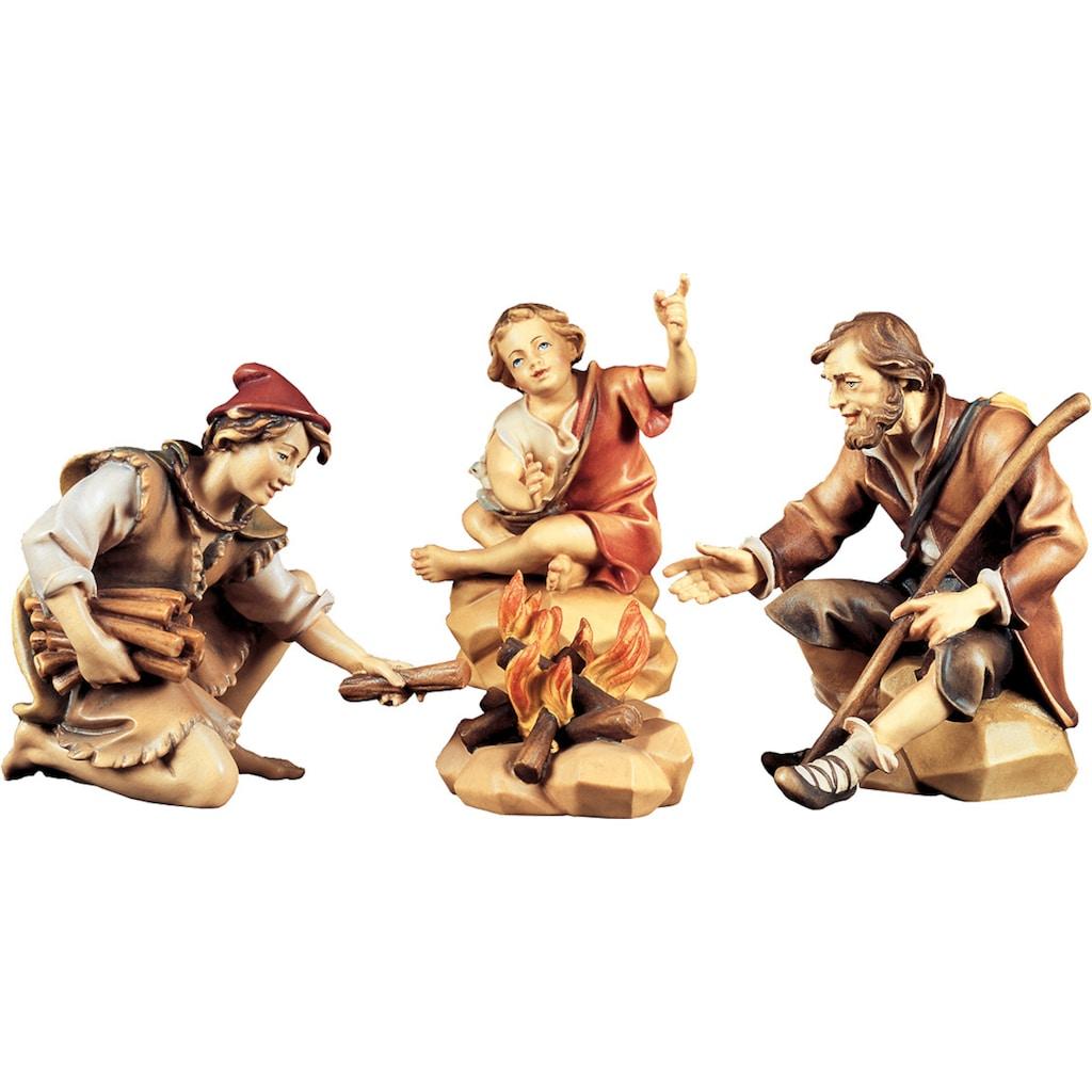 ULPE WOODART Krippenfigur »Hirtengruppe an der Feuerstelle« (Set, 4 Stück)