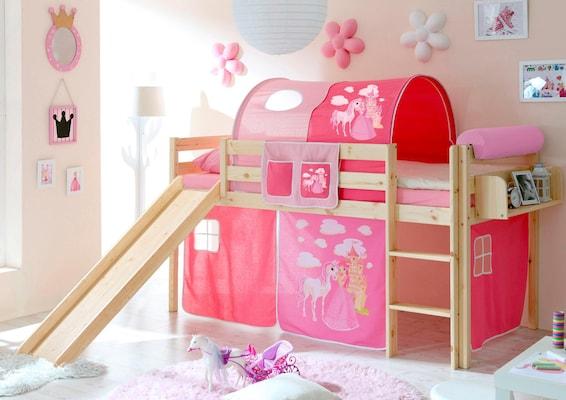 Halbhohes Spielbett mit Rutsche und rosa Prinzessinnen-Vorhang