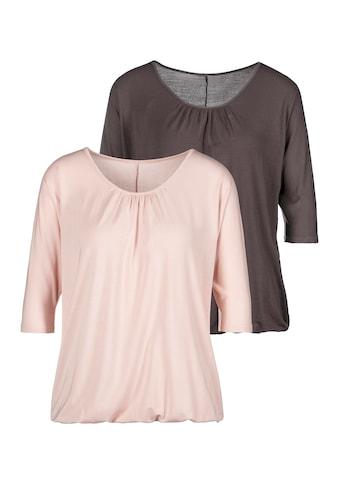 LASCANA 3/4-Arm-Shirt, mit zarter Raffung am Ausschnitt kaufen