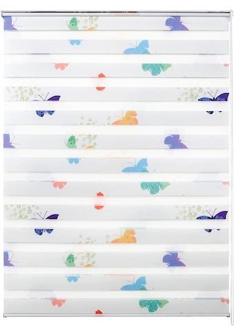 Good Life Doppelrollo nach Maß »Leni«, Lichtschutz, ohne Bohren, freihängend, Rahmenmontage, 1 Stck., Schmetterlinge kaufen