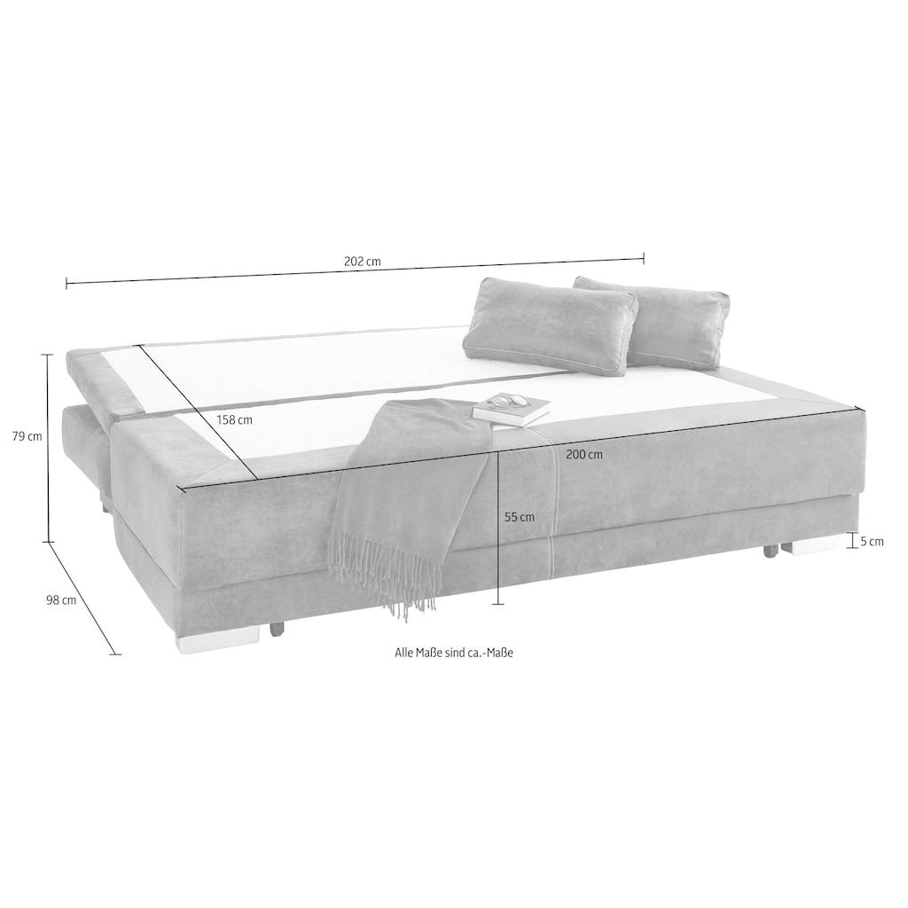 COLLECTION AB Schlafsofa, mit Bettfunktion und Bettkasten, frei im Raum stellbar, inklusive loser Armlehn-und Rückenkissen
