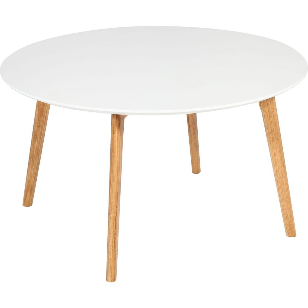 Homexperts Couchtisch »Madlina«, runde Tischplatte in weiß-matt, Maße (B/T/H) ca. 80/80/45 cm