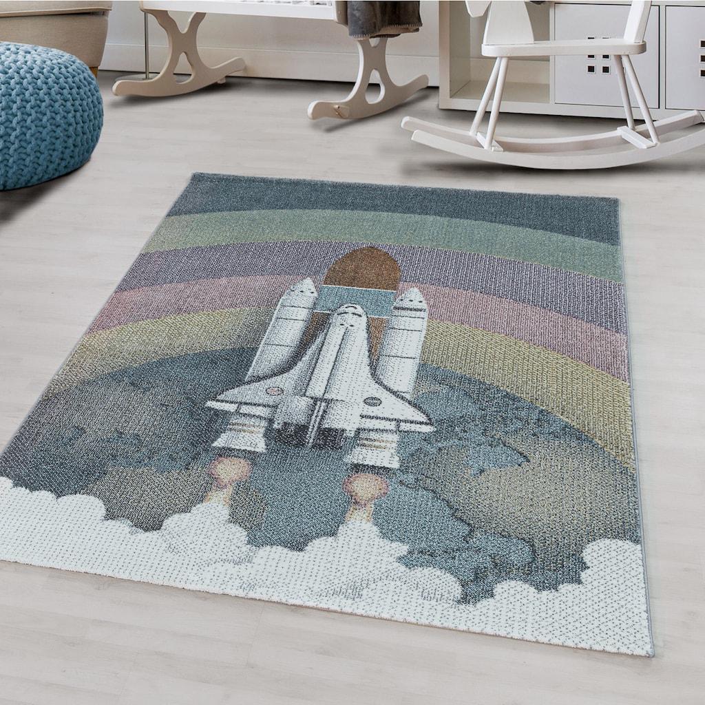 Ayyildiz Kinderteppich »FUNNY 2111«, rechteckig, 11 mm Höhe, Kinder Rakete Motivteppich