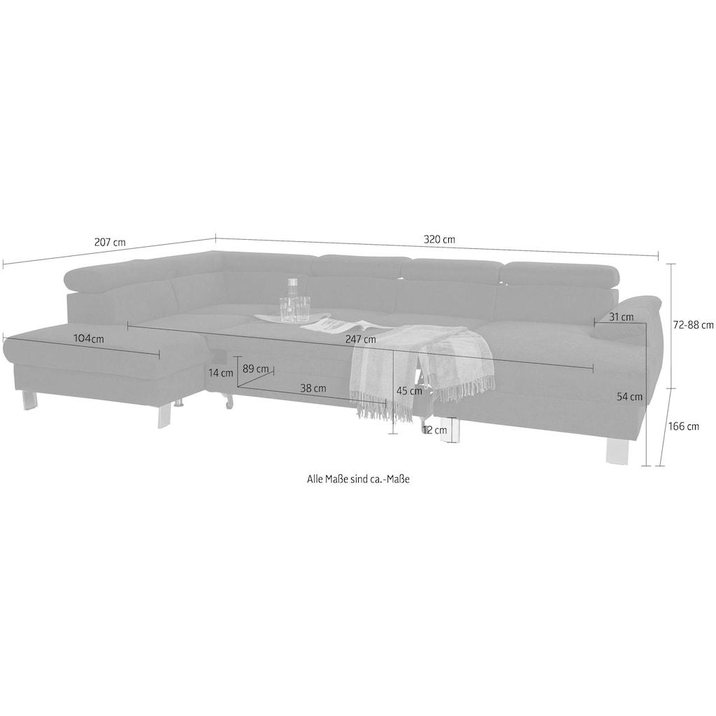COTTA Polstergarnitur »Komaris«, (Set), inklusive Kopfteilverstellung, wahlweise mit Bettfunktion und RGB-LED-Beleuchtung, Hocker und Sofa im Set