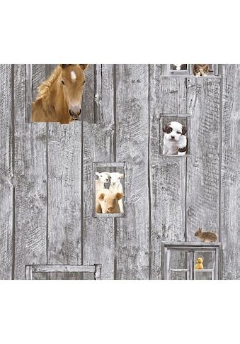 LIVINGWALLS Vliestapete »Little Stars mit niedlichen Tieren«, für das Kinderzimmer, PVC - frei kaufen