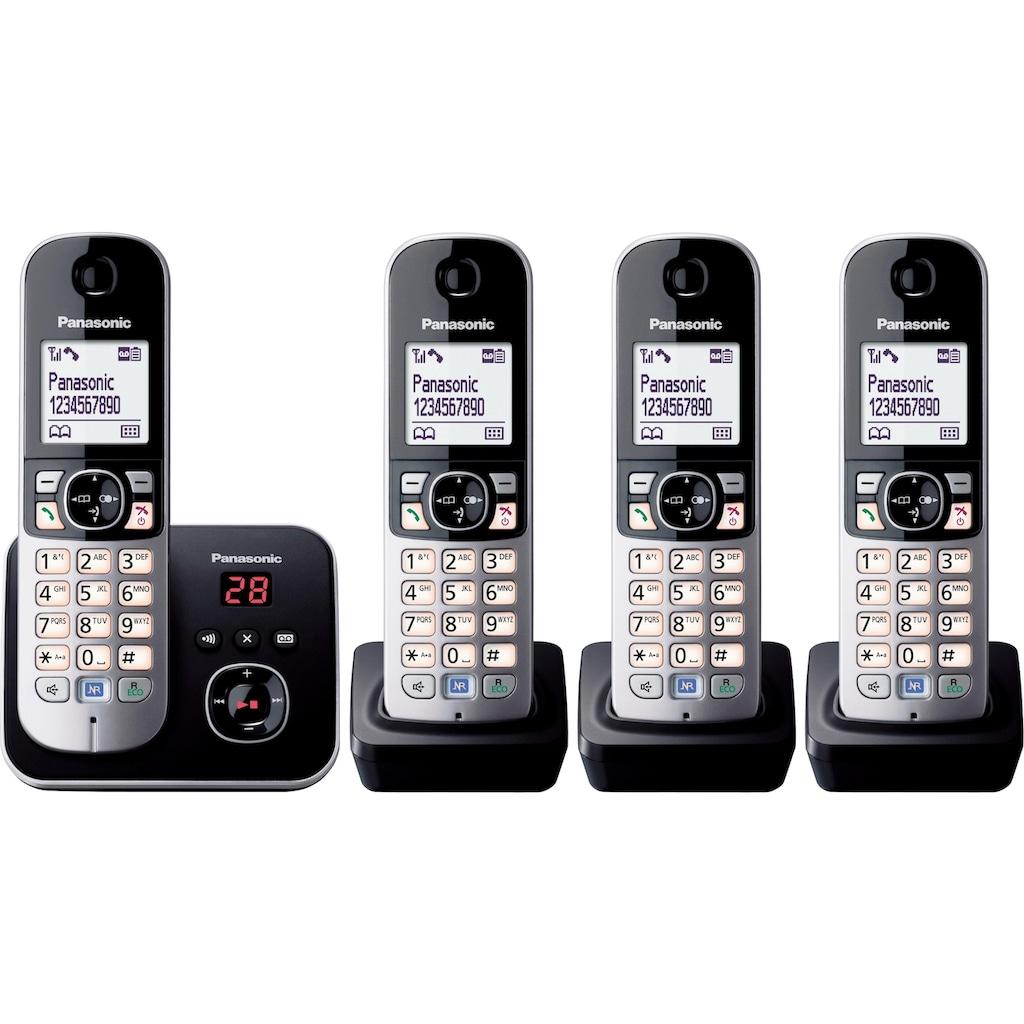 Panasonic Schnurloses DECT-Telefon »KX-TG6824GB«, (Mobilteile: 4 ), Nachtmodis, Freisprechen, Anrufbeantworter
