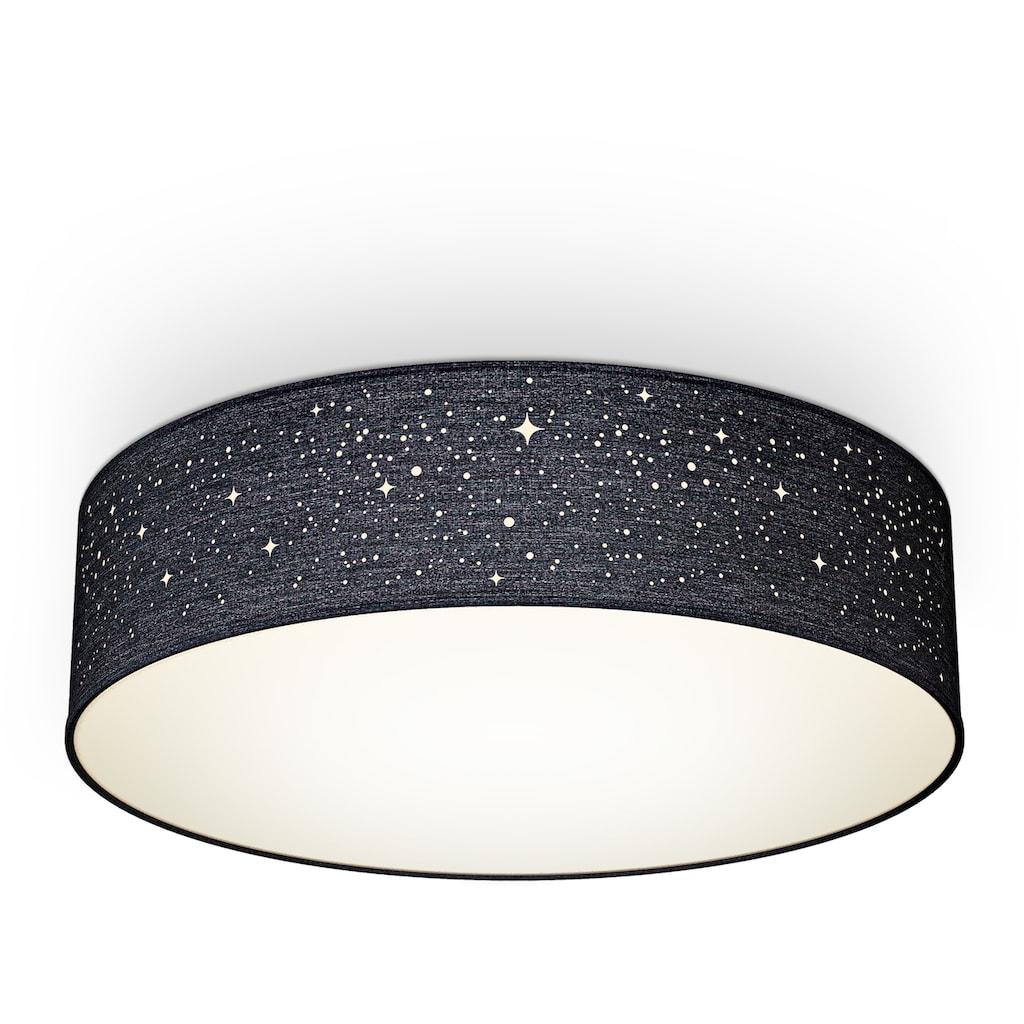 B.K.Licht Deckenleuchte, E27, 1 St., Textil-Sternenhimmel, Schwarz, Ø38cm, 2-flammig E27, Stoffdeckenleuchte rund, Schlafzimmerlampe, Textilschirm, ohne Leuchtmittel