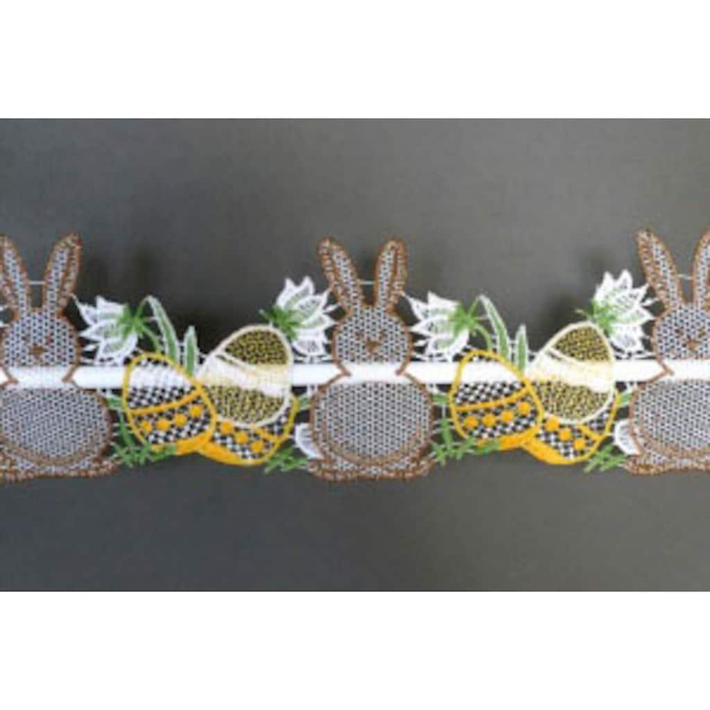 Stickereien Plauen Scheibengardine »Osterhasen«