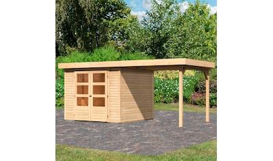 KARIBU Set: Gartenhaus »Arnis 3,5«, BxT: 491x262 cm, mit Anbaudach kaufen