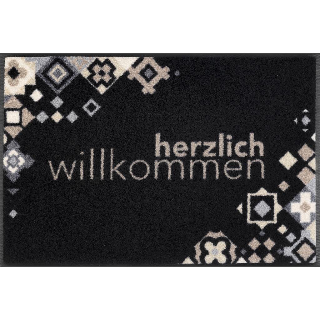 wash+dry by Kleen-Tex Fußmatte »Willkommen Mosaik«, rechteckig, 7 mm Höhe, Schmutzfangmatte, mit Spruch, In- und Outdoor geeignet, waschbar