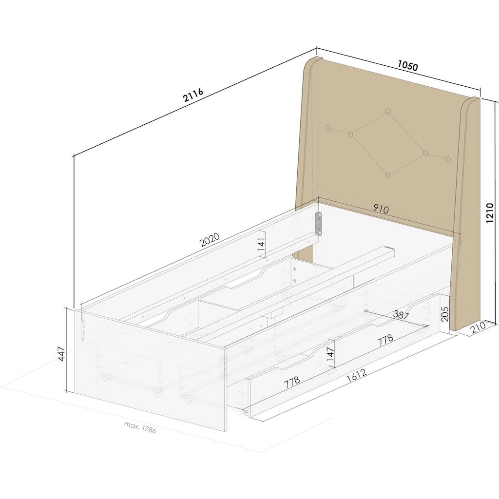Home affaire Boxbett »Banburry«, mit gepolstertem Kopfteil, inklusive 2 Schubladen