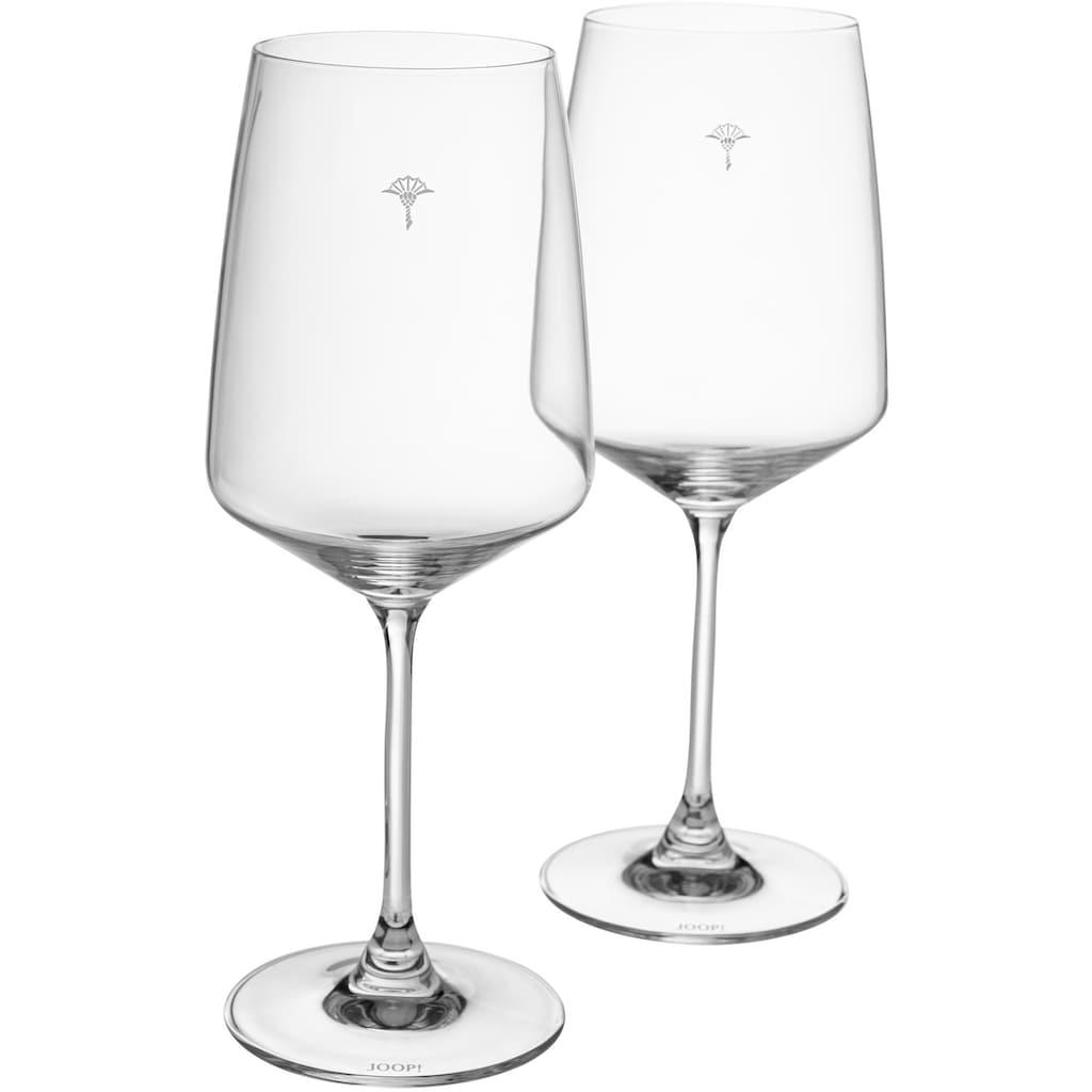 Joop! Rotweinglas »JOOP! SINGLE CORNFLOWER«, (Set, 2 tlg.), mit einzelner Kornblume als Dekor, 2-teilig