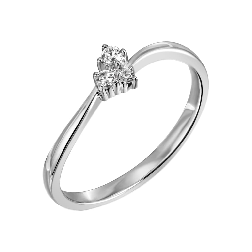 Firetti Diamantring »ca. 2,0 mm breit, Glanzoptik, rhodiniert, massiv«, mit Brillanten