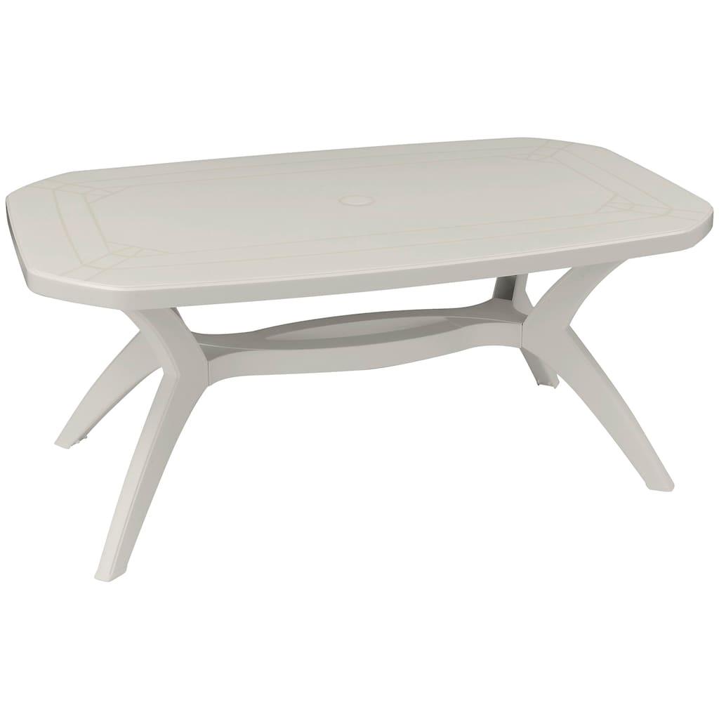 ONDIS24 Gartentisch »Ibiza«, BxTxH: 165 x 100 x 75 cm, weiß, Kunststoff, mit Justierfuß