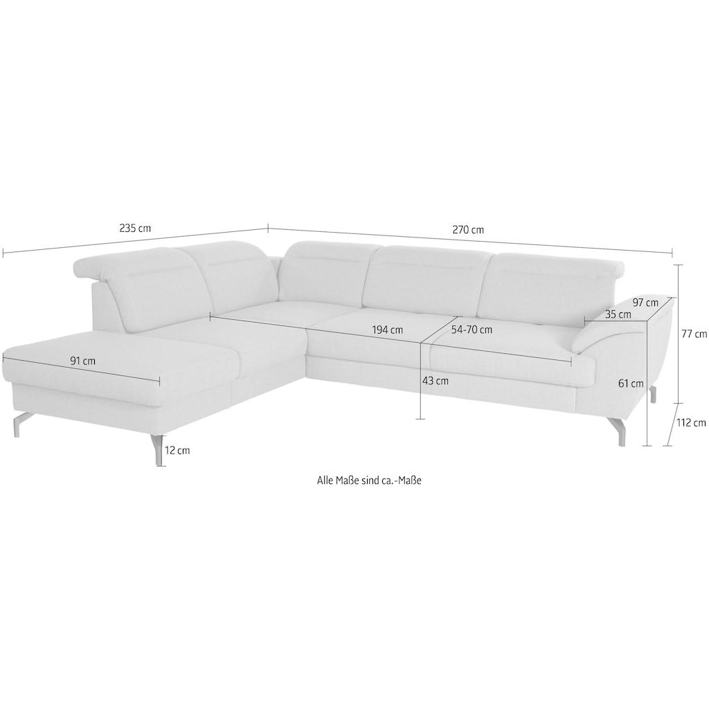 sit&more Ecksofa, 12 cm Fußhöhe, inklusive Sitztiefenverstellung, wahlweise Kopfteilverstellung, wahlweise in 2 unterschiedlichen Fußfarben