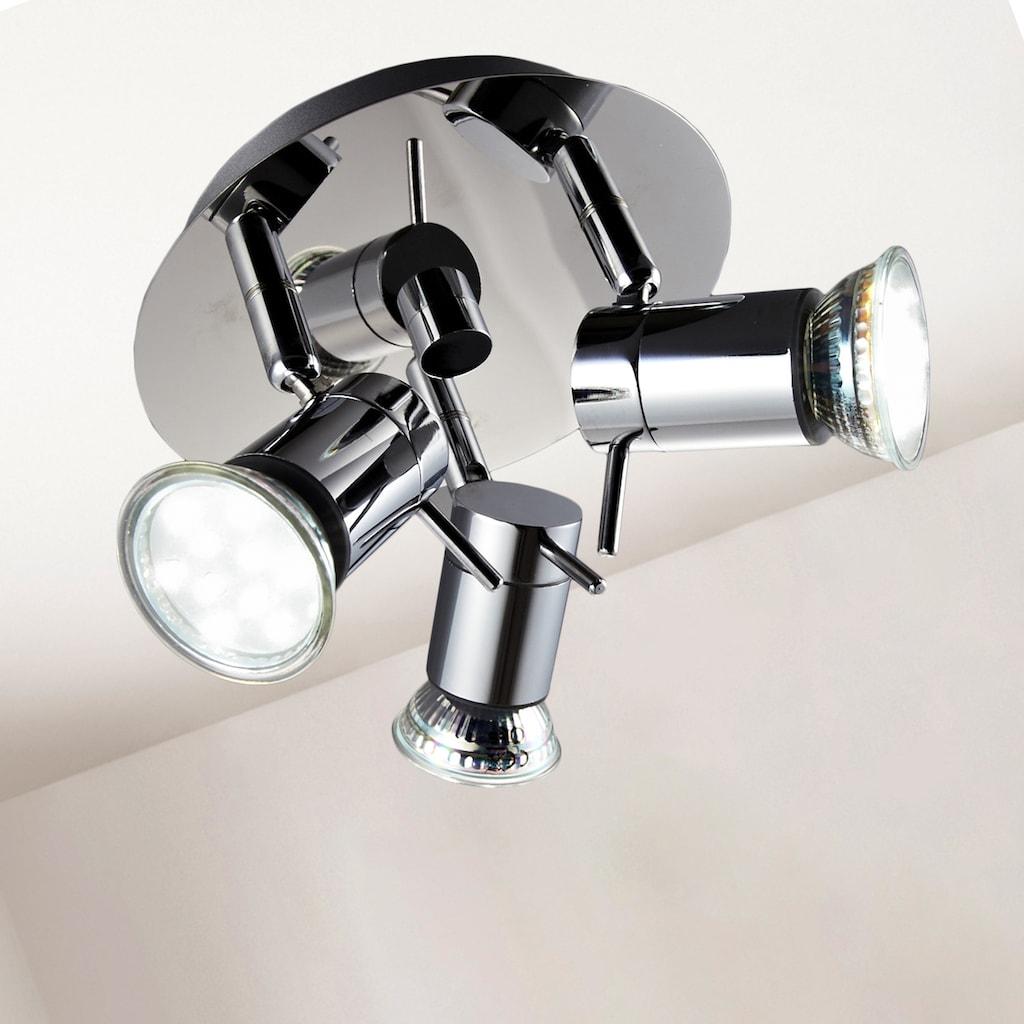 B.K.Licht LED Deckenleuchte, GU10, Warmweiß, LED Deckenlampe Badezimmer Chrom drehbar IP44 Bad-Lampe GU10 inkl. 3W 250lm
